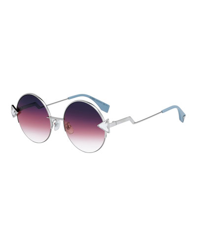 Round Gradient Sunglasses w/ Triangle Crystal Trim
