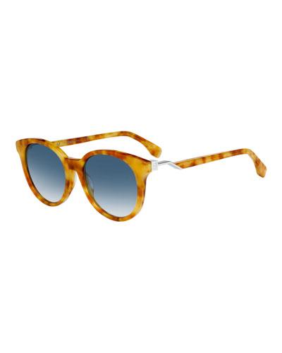 Round Acetate Sunglasses w/ Metal Logo Temples