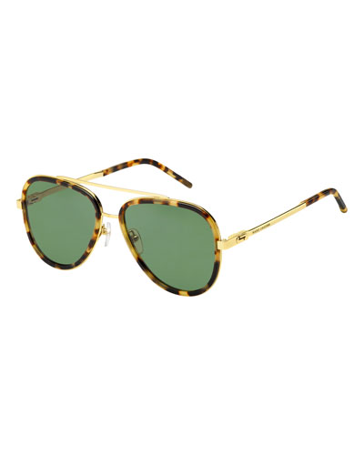 Metal & Plastic Aviator Sunglasses