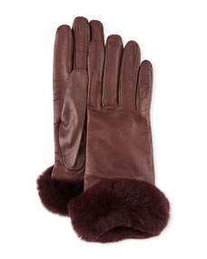 Leather Gloves W/ Fur Cuffs by Guanti Giglio Fiorentino