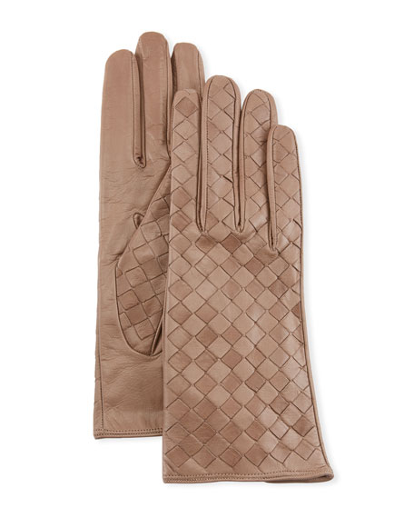 Woven Lambskin Leather Gloves in Taupe