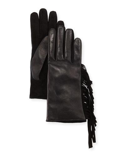 Leather & Suede Fringe Gloves