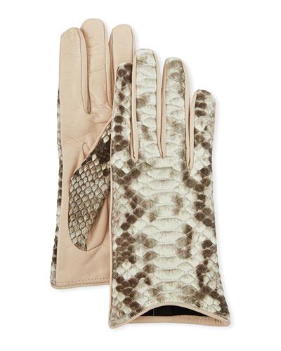 Lamb Leather & Snake Short Gloves
