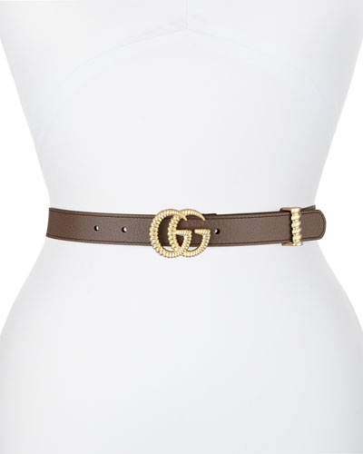 GG Marmont Leather Belt w/ Textured GG Buckle