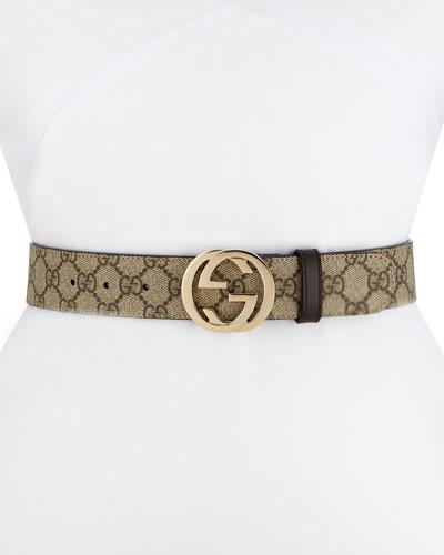 GG Supreme Canvas Belt w/ Interlocking G Buckle