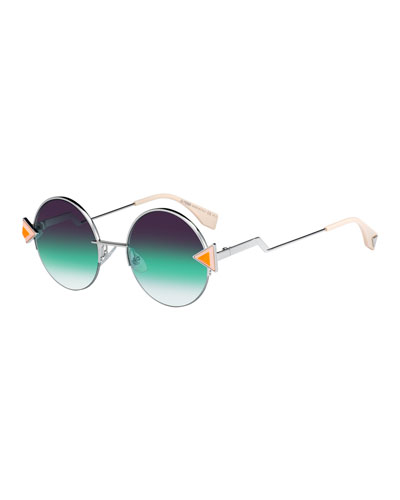 Studded Round Gradient Sunglasses w/ Stepped Temples