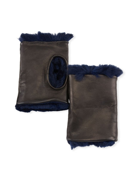 Guanti Giglio Fiorentino Fingerless Leather Gloves w/ Fur