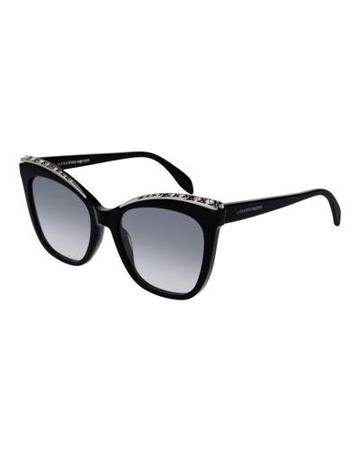 Cat-Eye Acetate Sunglasses w/ Crystal Brows