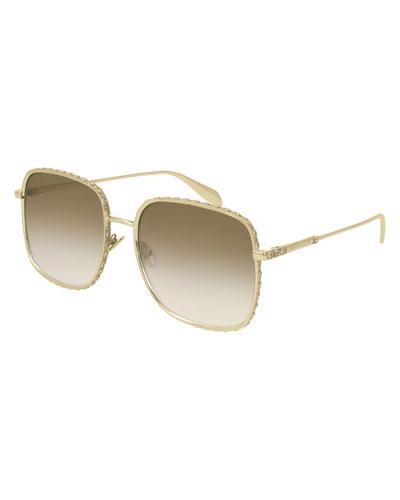 Square Gradient Sunglasses w/ Crystal Trim