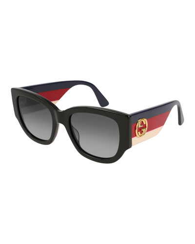 Oversized Rectangle Sunglasses w/ Striped Arms