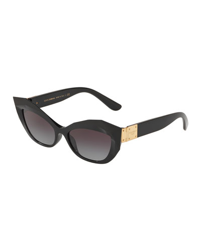 Faceted Slim Cat-Eye Sunglasses
