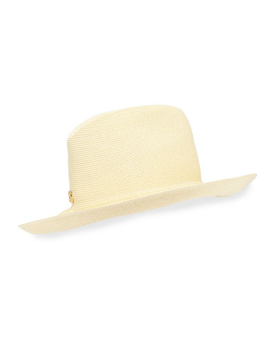 Wide Brim Woven Hat w/ Double G Hardware