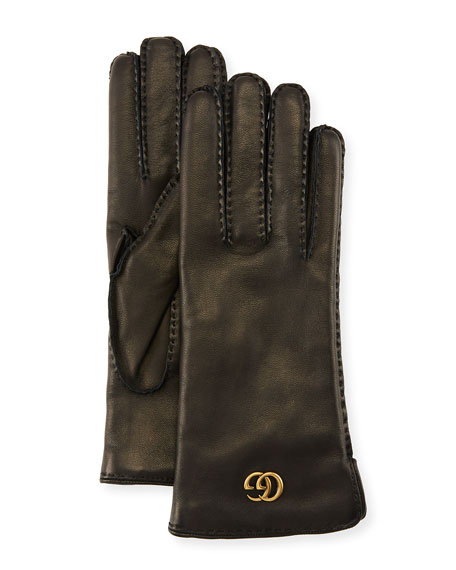 f41c568ab8a5 Gucci Leather Gloves w  GG Hardware