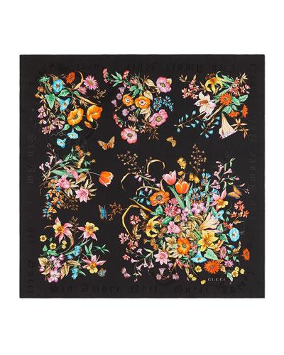 Sine Bouquet Silk Scarf