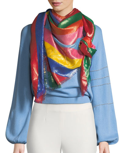 Multi-Gucci Rainbow Striped Shawl