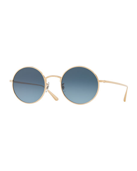 71962badcf8 Oliver Peoples The Row After Midnight Round Metal Sunglasses
