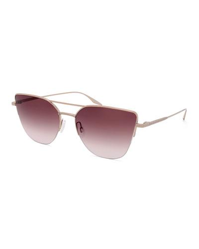 Hani Semi-Rimless Gradient Aviator Sunglasses