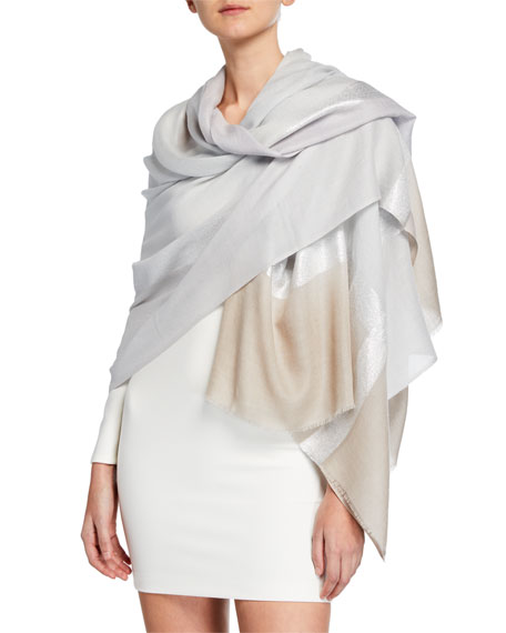 Bindya Accessories Two-Tone Metallic Striped Stole