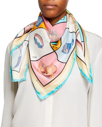Boxed Accessories-Print Silk Scarf
