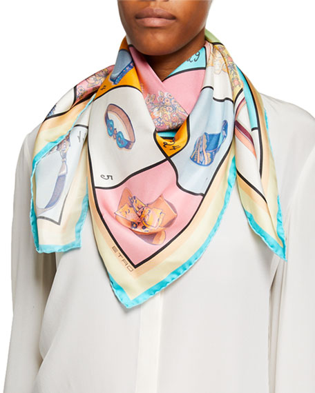 Etro Boxed Accessories-Print Silk Scarf