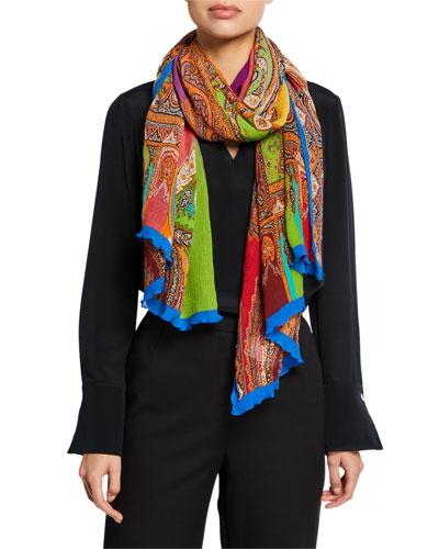 Vibrant Silk-Blend Column Paisley Scarf