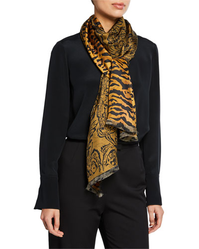 dce489be24d4d Promotion Double Faced Paisley   Tiger Silk Scarf Quick Look. Etro