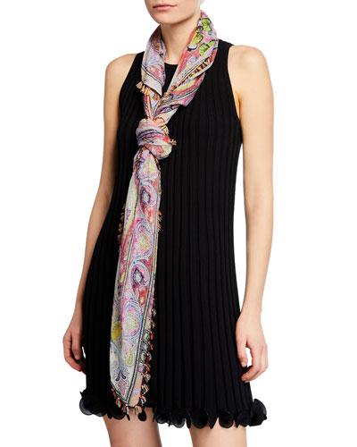 Floral Paisley Silk Scarf w/ Tassel Fringe Border
