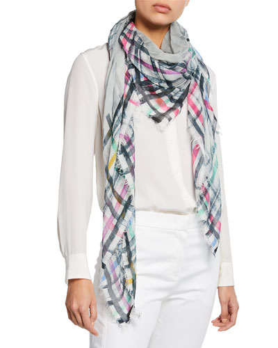 Spruzzino Faded Plaid Fringe Scarf
