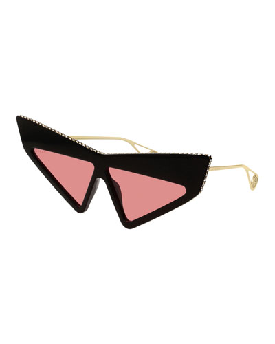 Crystal Studded Acetate Mask Cat-Eye Sunglasses