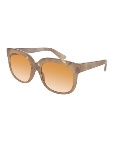 Square Marbleized Acetate Mirrored Sunglasses