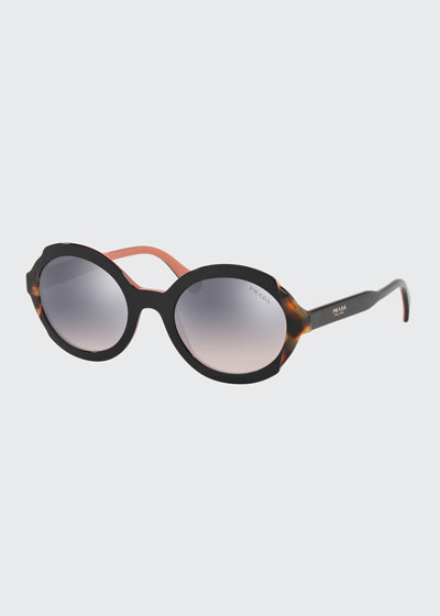 Round Mirrored Mixed Acetate Sunglasses