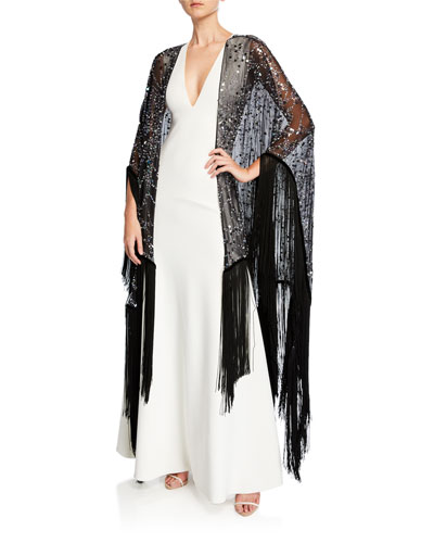 Embroidered Silk Fringe Shawl