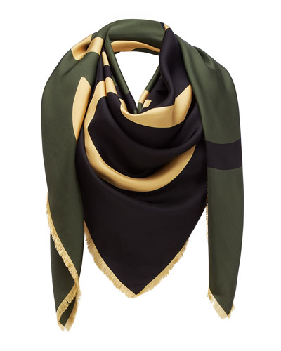 Colorblock Giant Anagram Silk Scarf