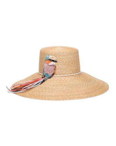Mirabel Straw Sun Hat w/ Beaded Bird Detail