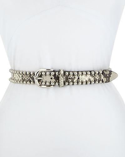 Tokky Beaded Snake-Print Belt