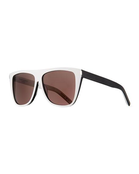 Saint Laurent Two-Tone Acetate Rectangle Sunglasses