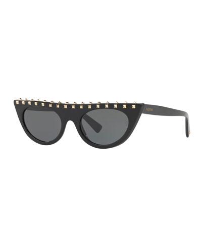 Rockstud-Trim Acetate Cat-Eye Sunglasses