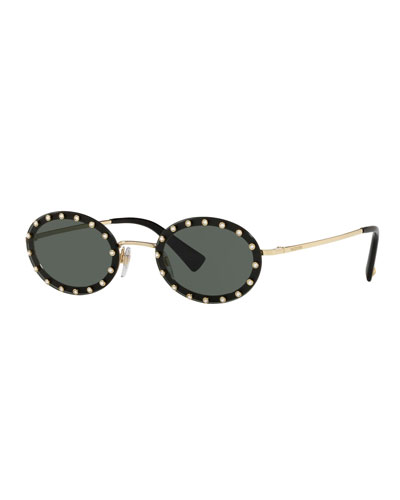 Crystal Embellished Oval Sunglasses