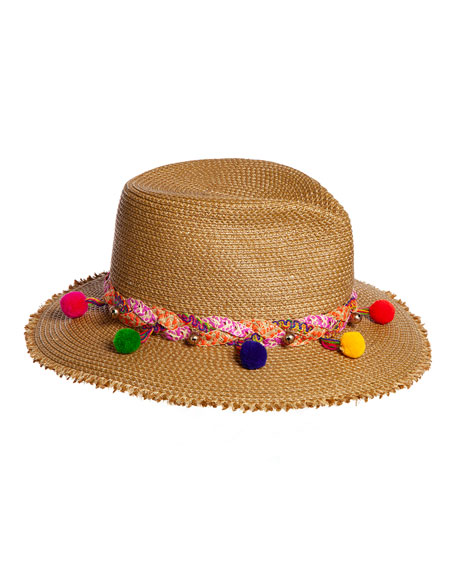 Eric Javits Corfu Woven Sun Hat w/ Braided