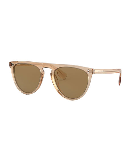 60320c6dbc215 Burberry Semi-Transparent Acetate Flattop Aviator Sunglasses In Brown
