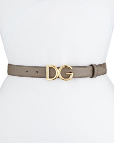 Leather Belt W/ Logo Buckle by Dolce & Gabbana