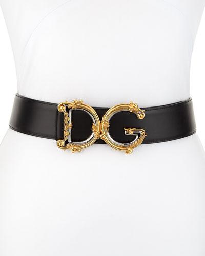 Baroque Logo Leather Belt