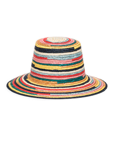 Stevie Multicolored Straw Bucket Hat