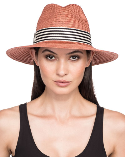 Courtney Packable Hemp Fedora Hat w/ Wide Striped Band