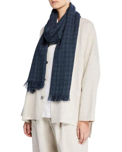Grid-Weave Linen/Cotton Scarf