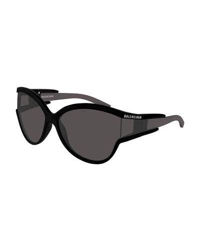Soft Mask Monochromatic Wrap Cat-Eye Sunglasses