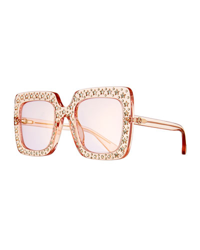 e711c72b259bc Oversized Square Transparent Sunglasses w  Crystal Star Embellishments