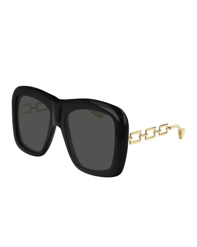 646e957f7265 Promotion Square Acetate Sunglasses w  Metal Chain Arms