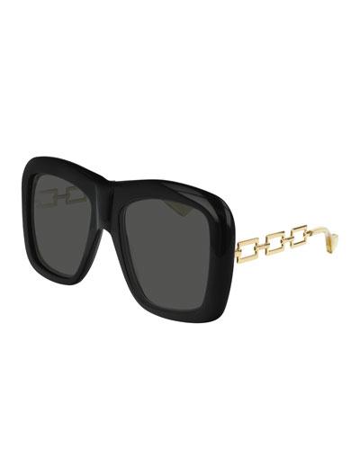 20ecba7a3d Square Acetate Sunglasses w  Metal Chain Arms Quick Look. Gucci