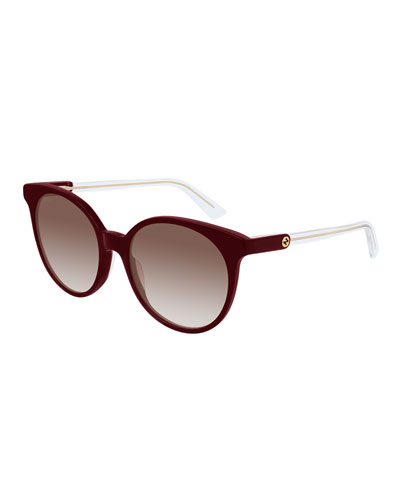 Round Gradient Sunglasses w/ Transparent Arms
